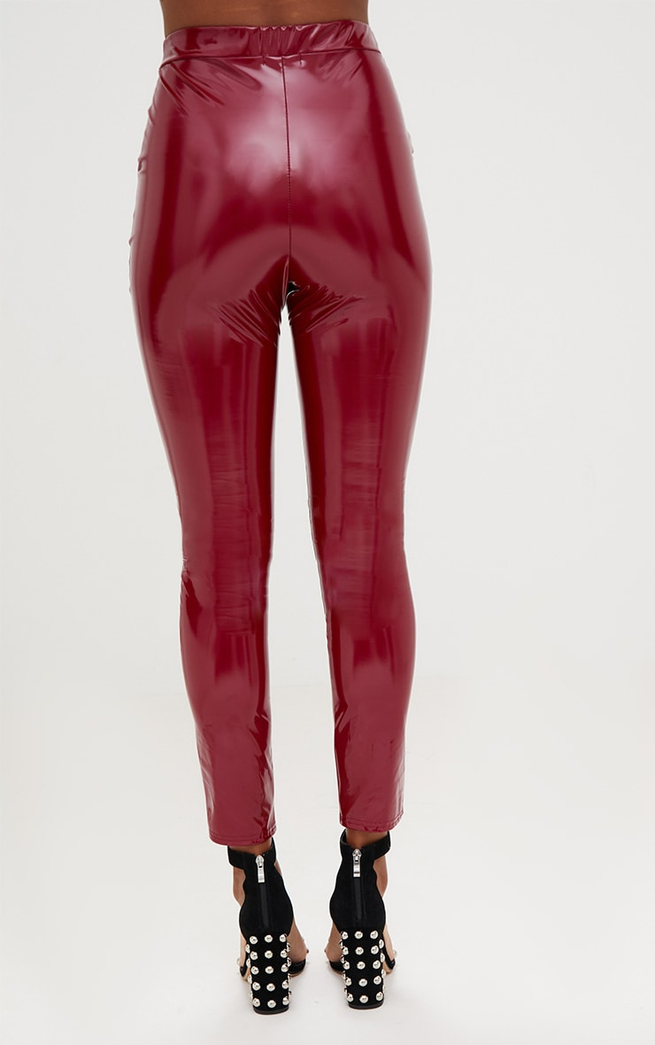 Burgundy Vinyl Leggings 4