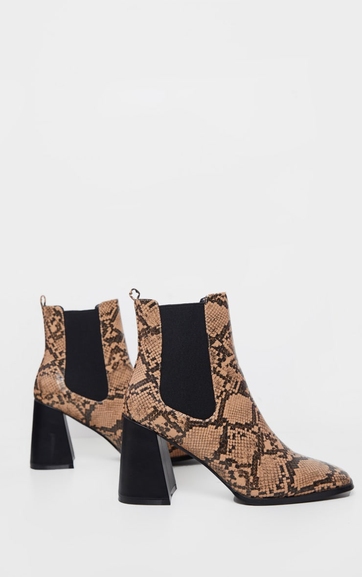 Brown Snake Square Toe Block Heel Ankle Boot 4
