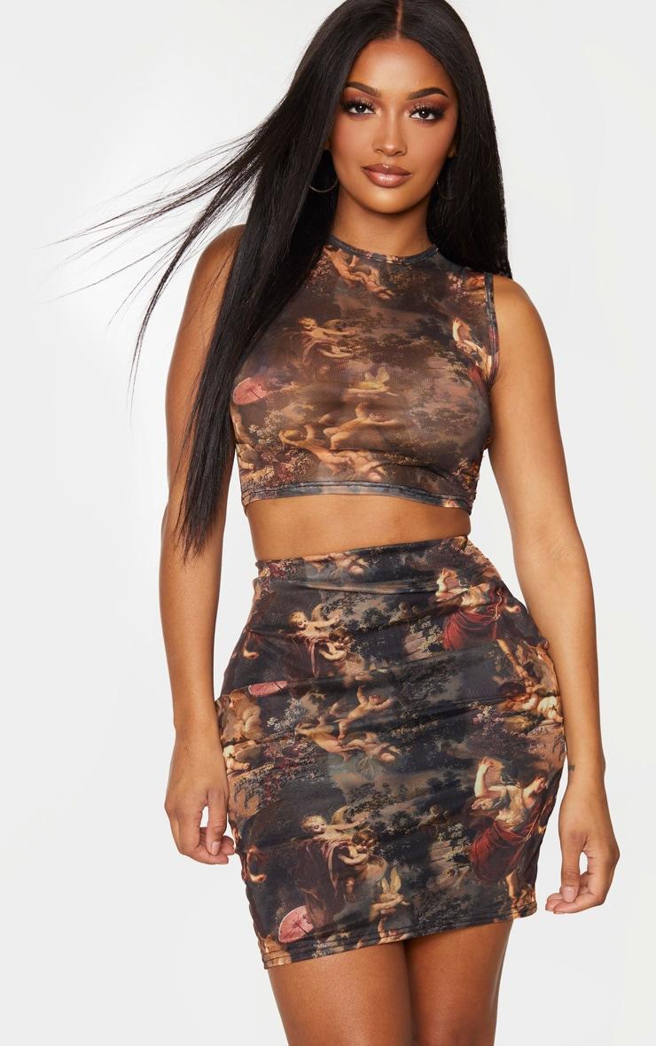 Shape Brown Renaissance Print Mesh High Waist Bodycon Skirt 1