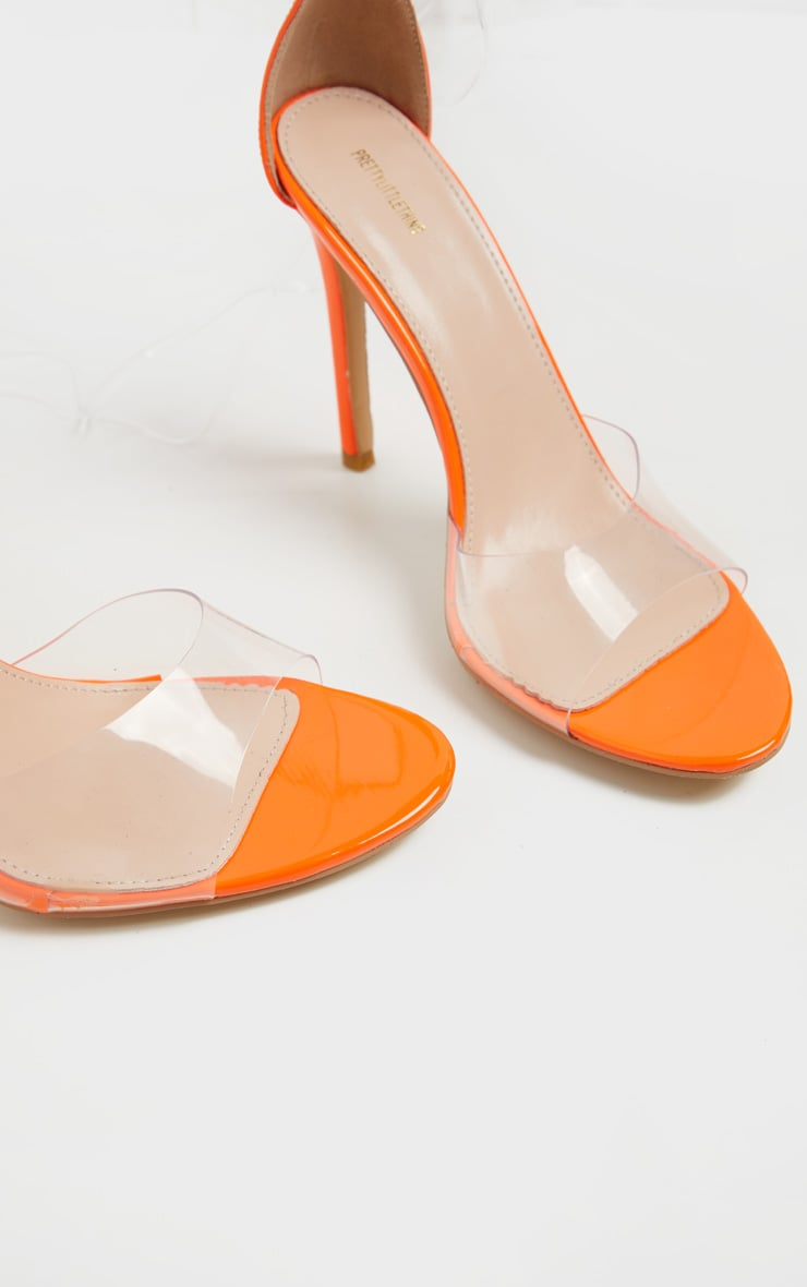 Neon Orange Clear Leg Tie Heeled Sandal 4
