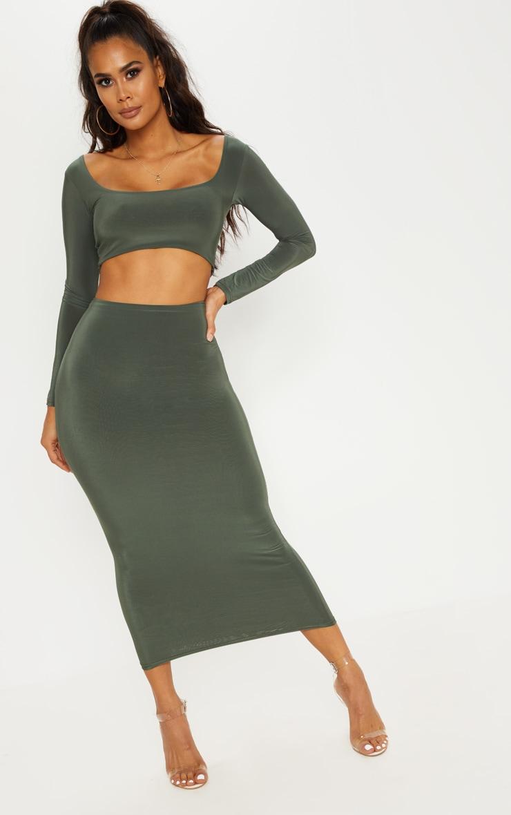 Khaki Slinky Midaxi Skirt