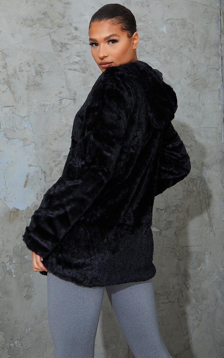 Black Hooded Faux Fur Midi Coat 2