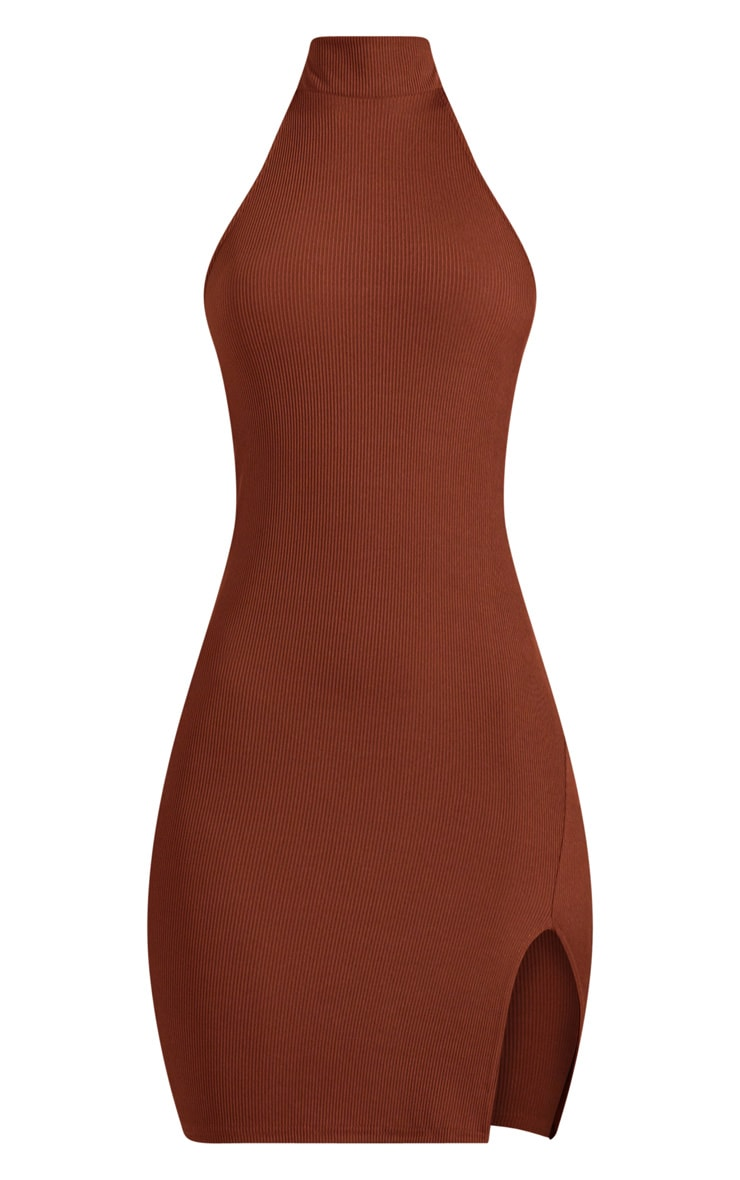Chocolate Brown Ribbed High Neck Split Detail Bodycon Dress 3