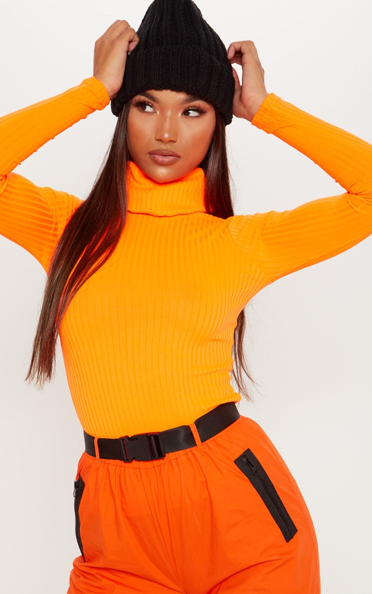 Neon Orange Rib Roll Neck Long Sleeve Top 1