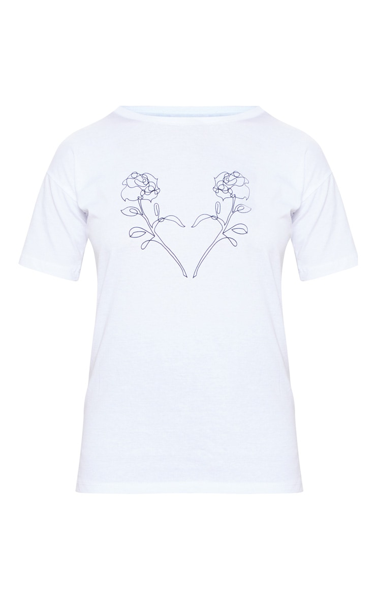 T-shirt blanc à imprimé fleurs 3