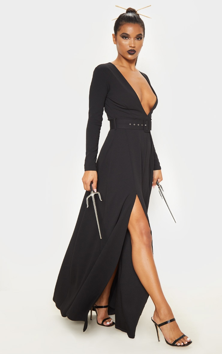 Black Long Sleeve Plunge Belted Maxi Dress 1