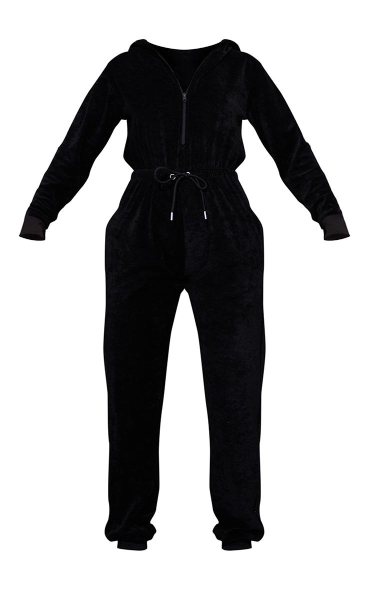 PRETTYLITTLETHING Black Diamante Back Velour Jumpsuit 5
