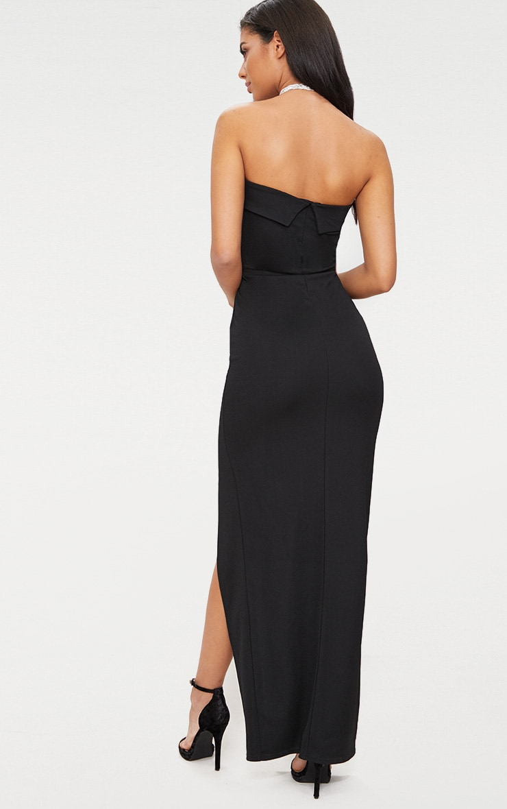 Black Bandeau Folded Detail Extreme Split Maxi Dress  2