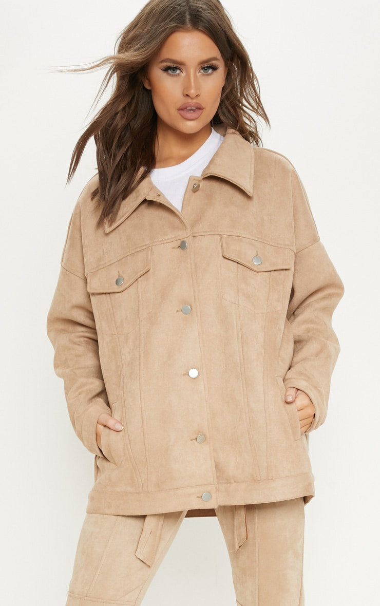 Stone Faux Suede Oversized Trucker Jacket  4