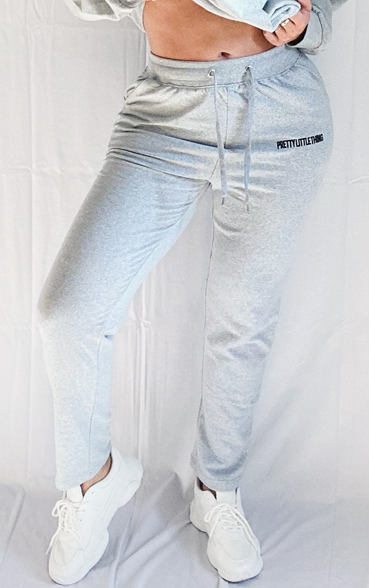 PRETTYLITTLETHING Plus Grey Embroidered Joggers 2