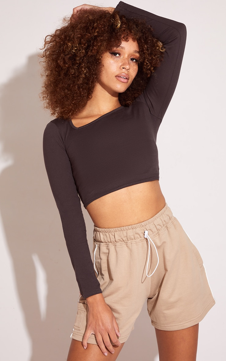 Chocolate Jersey Slashed Neck Long Sleeve Crop Top 4
