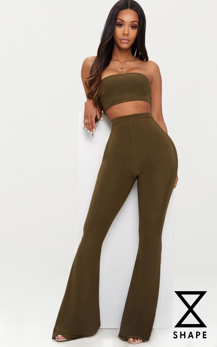 Shape Khaki Slinky Flared Trousers 1