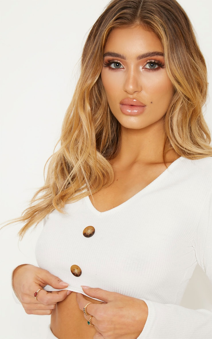 Cream Rib Button Detail Crop Top 6