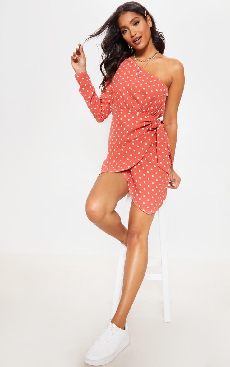 Pink Polka Dot One Sleeve Tie Shift Dress 3