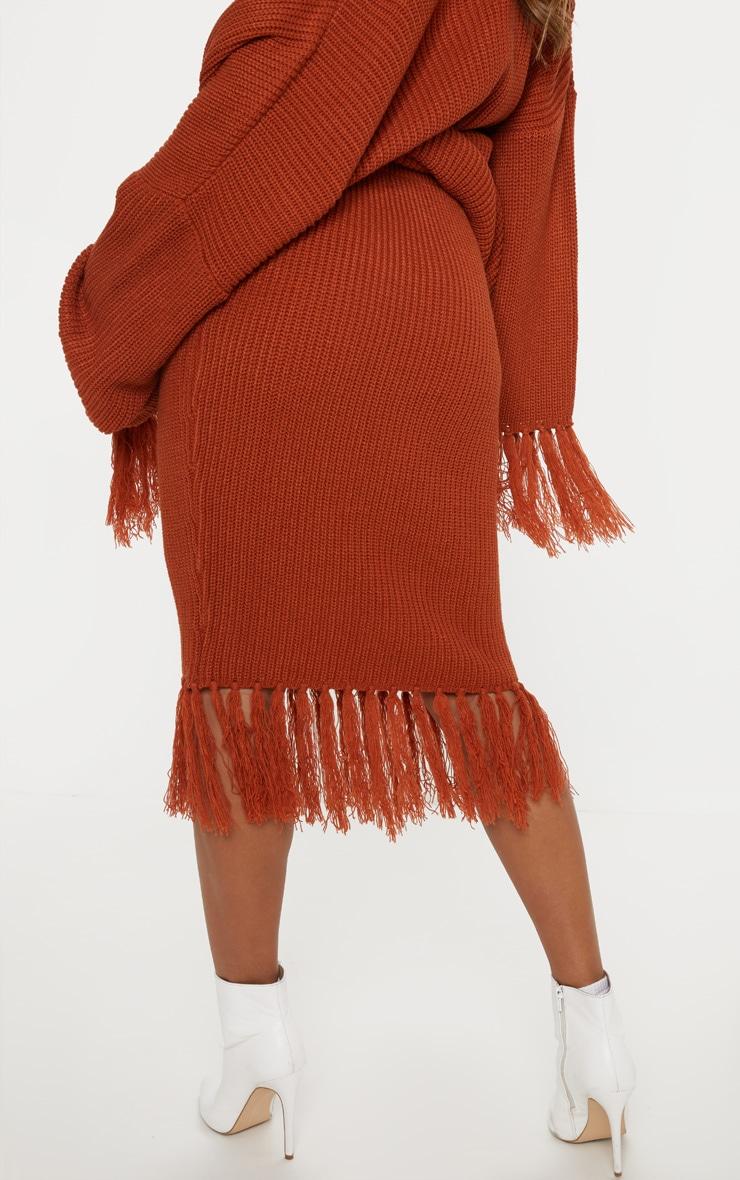 Rust Tassel Hem Knitted Midi Skirt  4