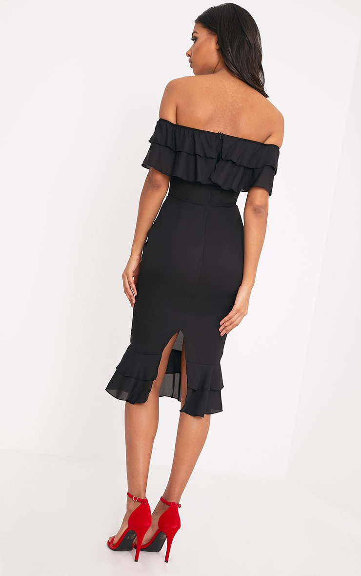 Katerina Black Chiffon Frill Bardot Midi Dress 2
