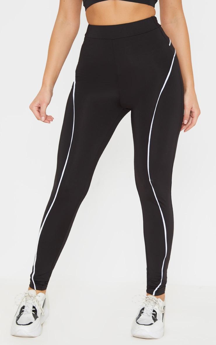 Black Contrast Binding High Waist Gym Legging 2