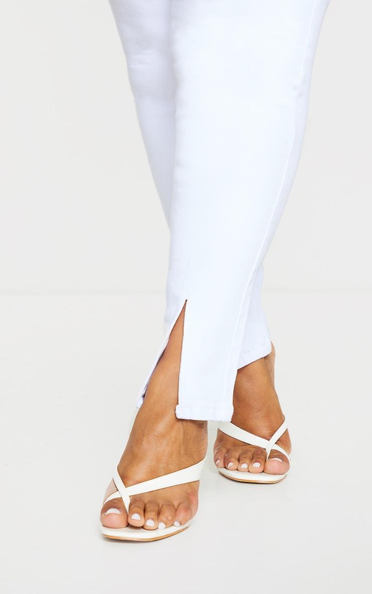 Plus White Split Front Hem Skinny Jeans 4