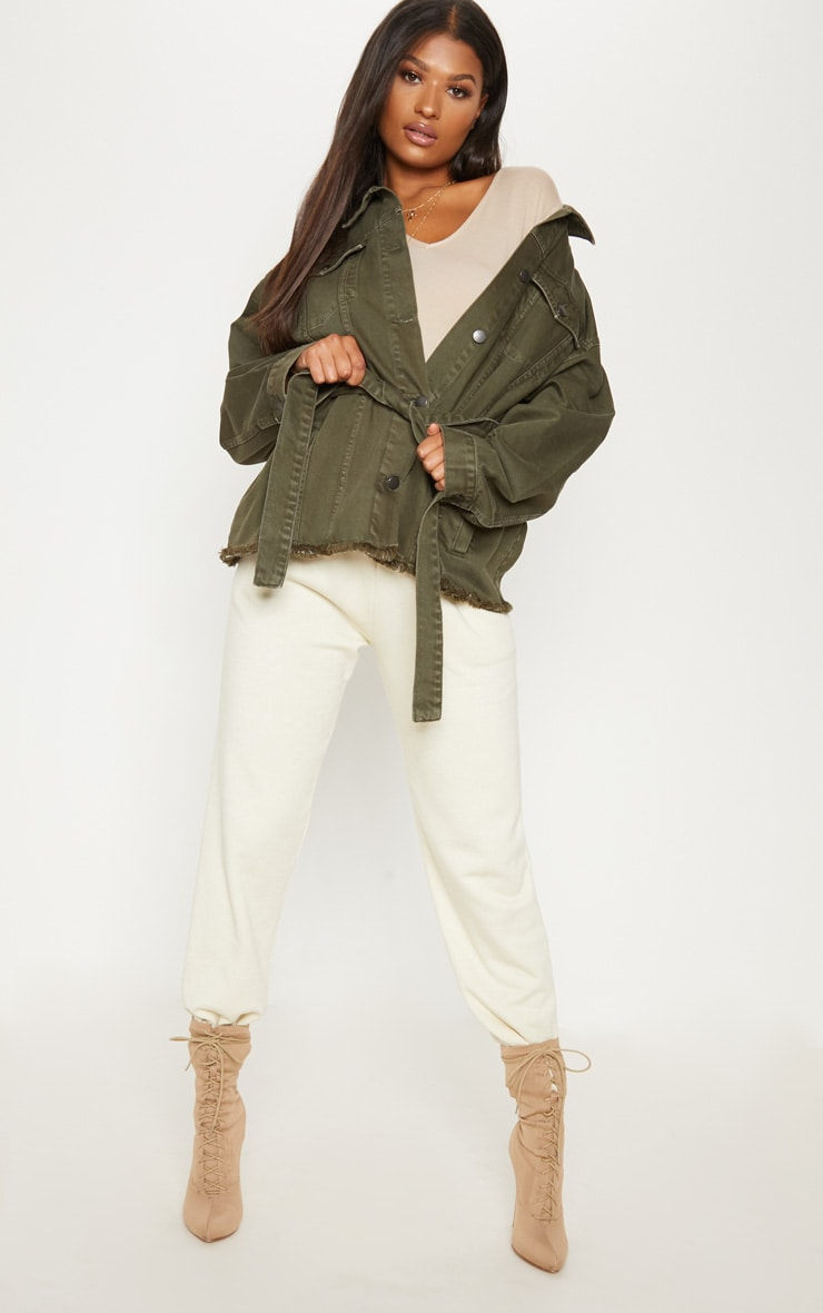 Khaki Tie Waist Oversized Denim Jacket  4