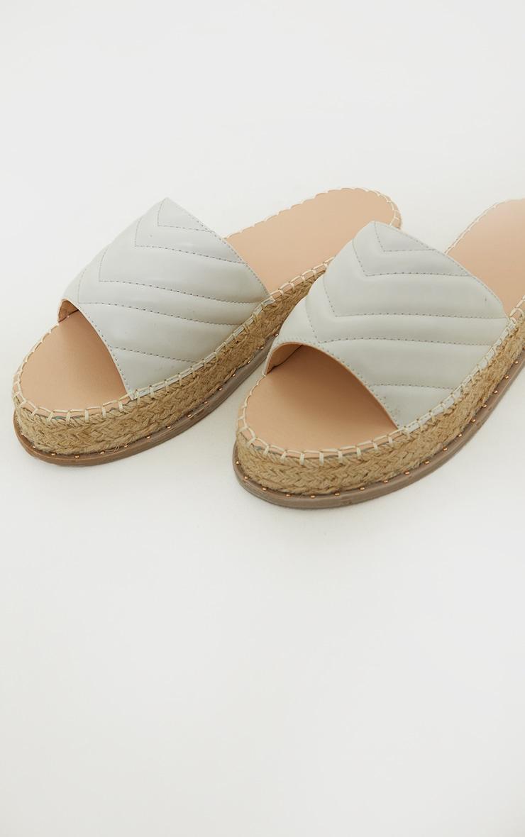White Quilted Mule Flatform Espadrille Sandals 4