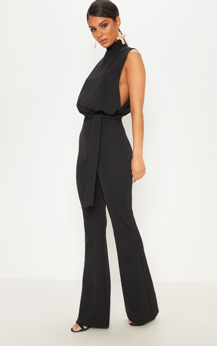 Black Scuba High Neck Tie Waist Jumpsuit 1