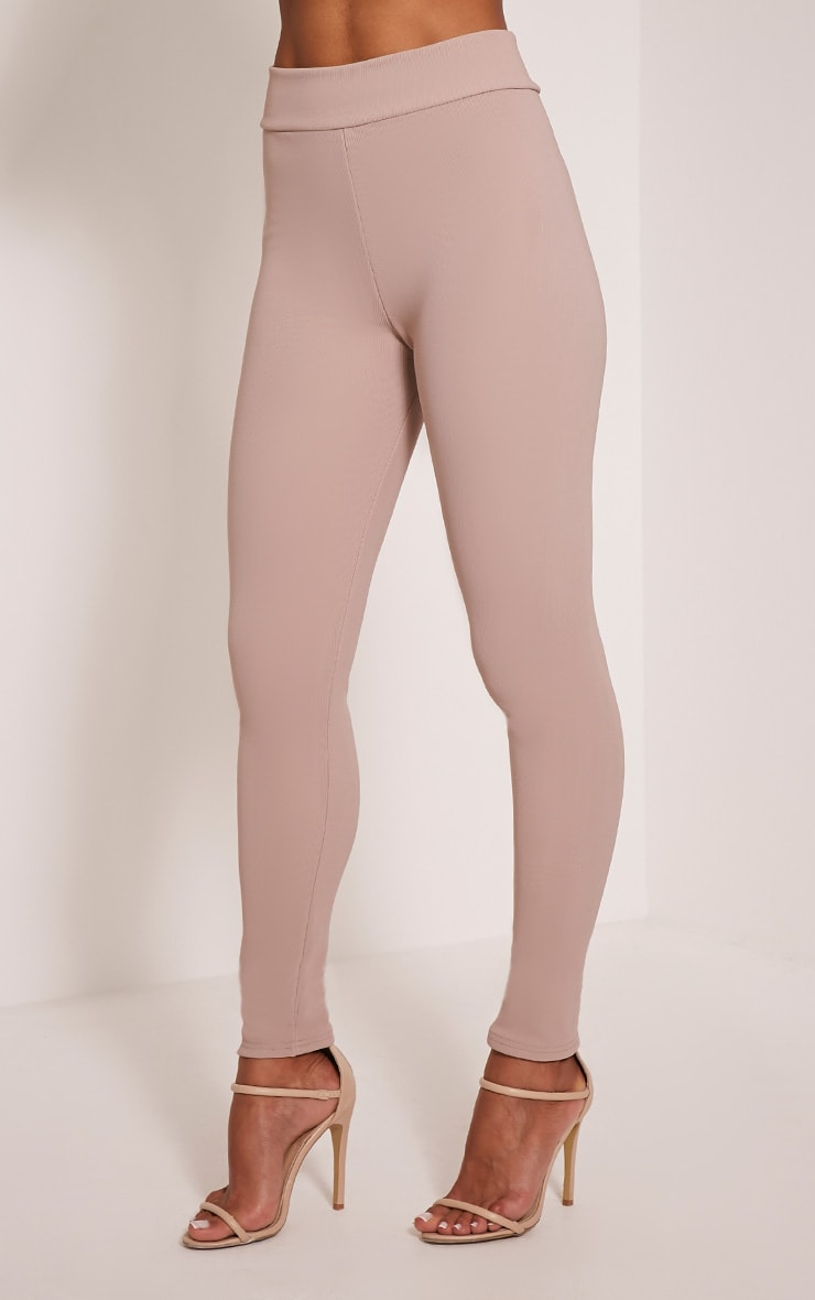 Kirsty Taupe Fine Ribbed Leggings 4