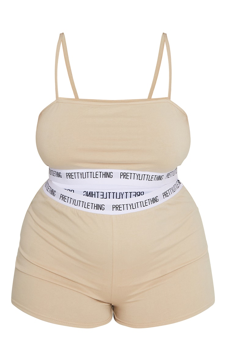 PRETTYLITTLETHING Plus Stone High Waist Shorts Lingerie Set 5
