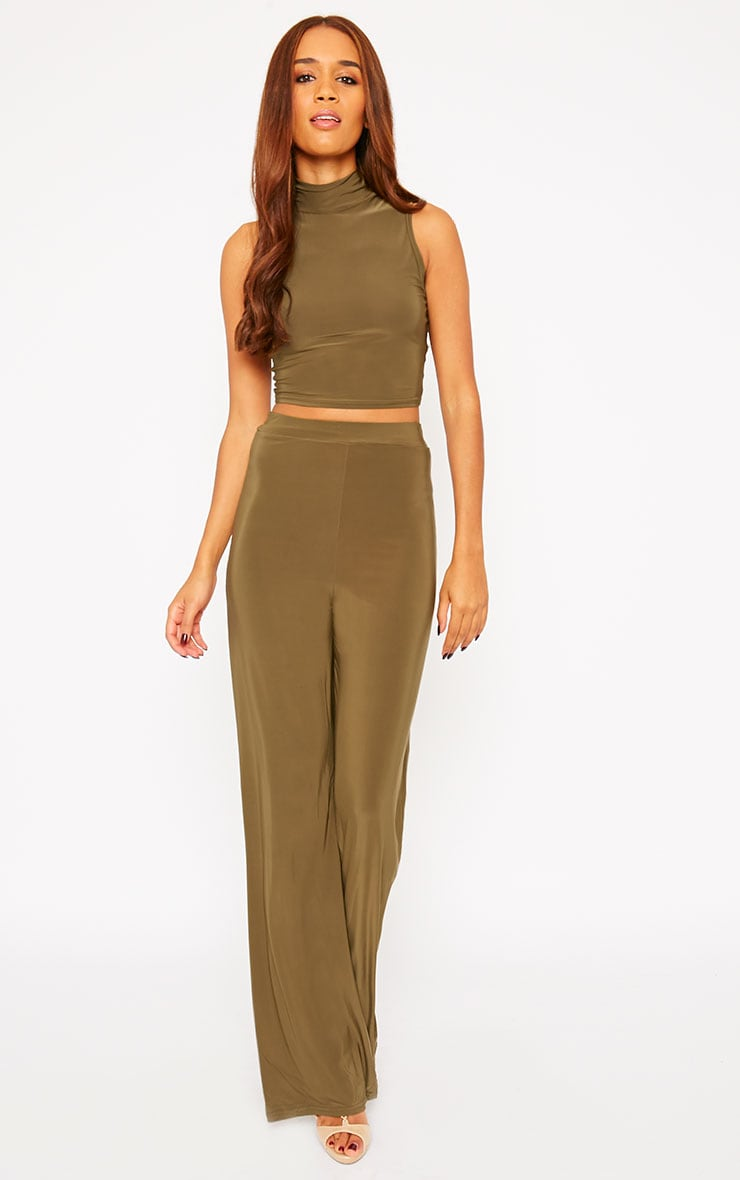 Remi Khaki Soft Touch Wide Leg Trousers 5