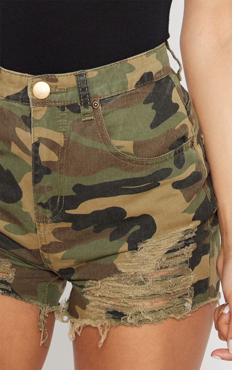 Jeanie Green Camo Extreme Ripped Denim Short 6