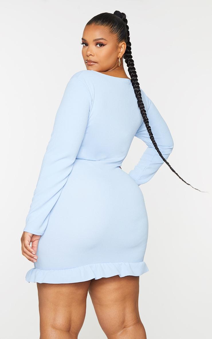 Plus Dusty Blue Ruffle Detail Wrap Dress 2