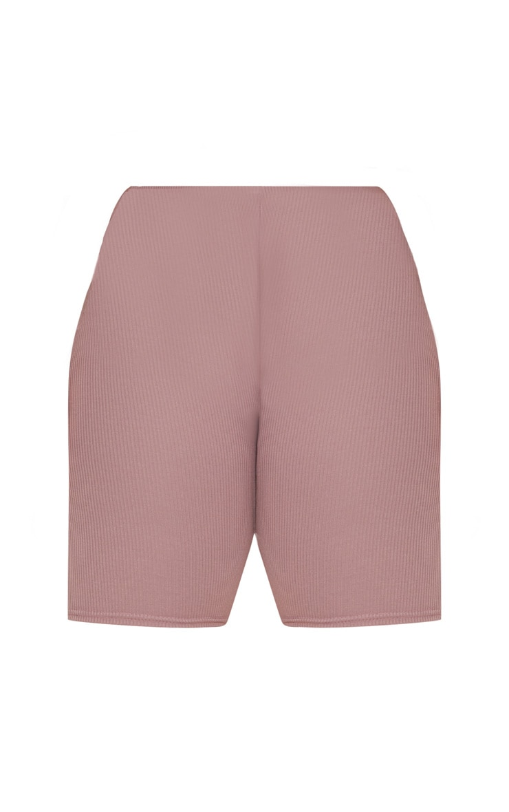 Plus Dark Mauve Ribbed Cycling Shorts 3