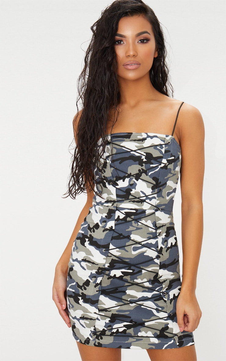 Grey Camouflage Lace Up Bodycon Dress 4