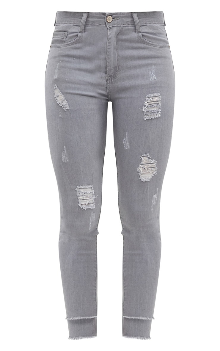 Light Grey Distressed High Waisted Skinny Jean 3