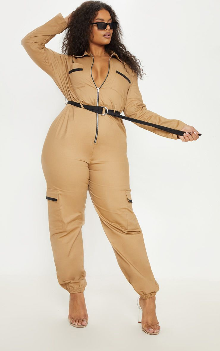 32a58768b9 Plus Camel Cargo Belted Utility Jumpsuit