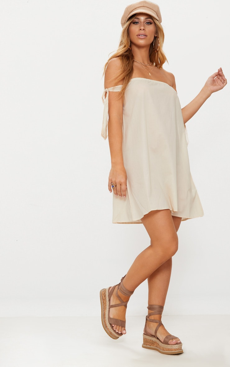 Stone Bardot Tie Detail Smock Dress 4
