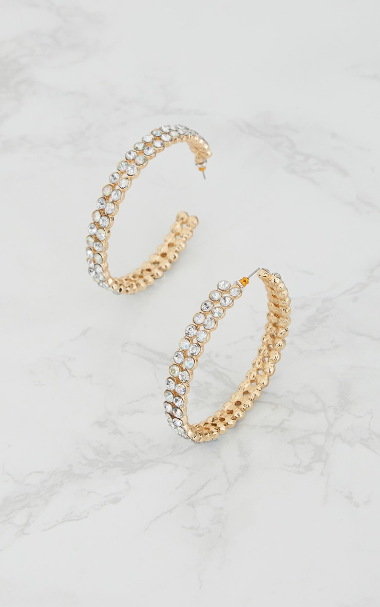 Gold Large Iridescent Double Row Gem Hoop Earrings 3
