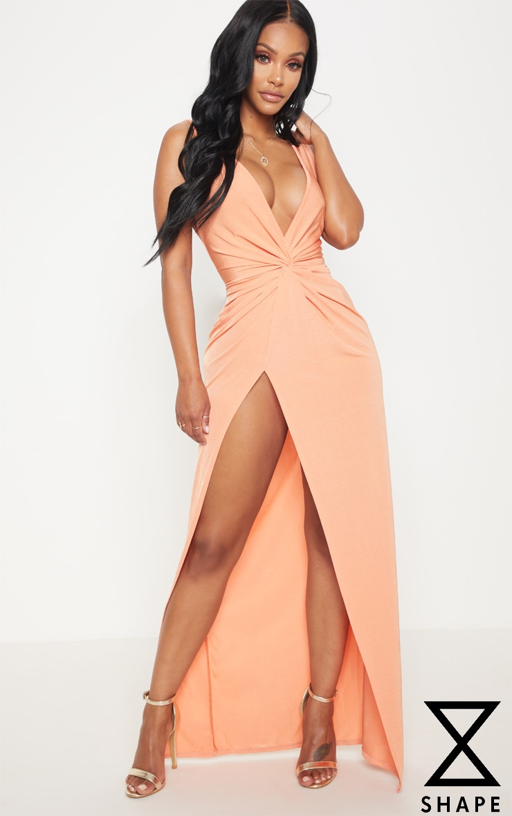 Shape Dusty Coral Slinky Wrap Detail Maxi Dress