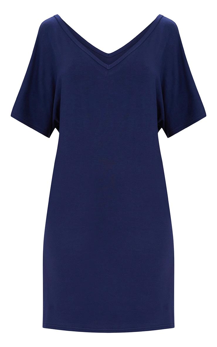 Basic Navy V Neck T Shirt Dress 2
