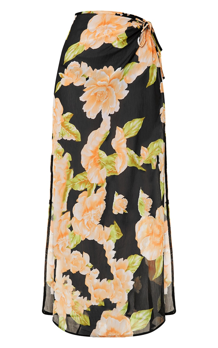 Black Floral Glitter Detail Beach Maxi Skirt 3