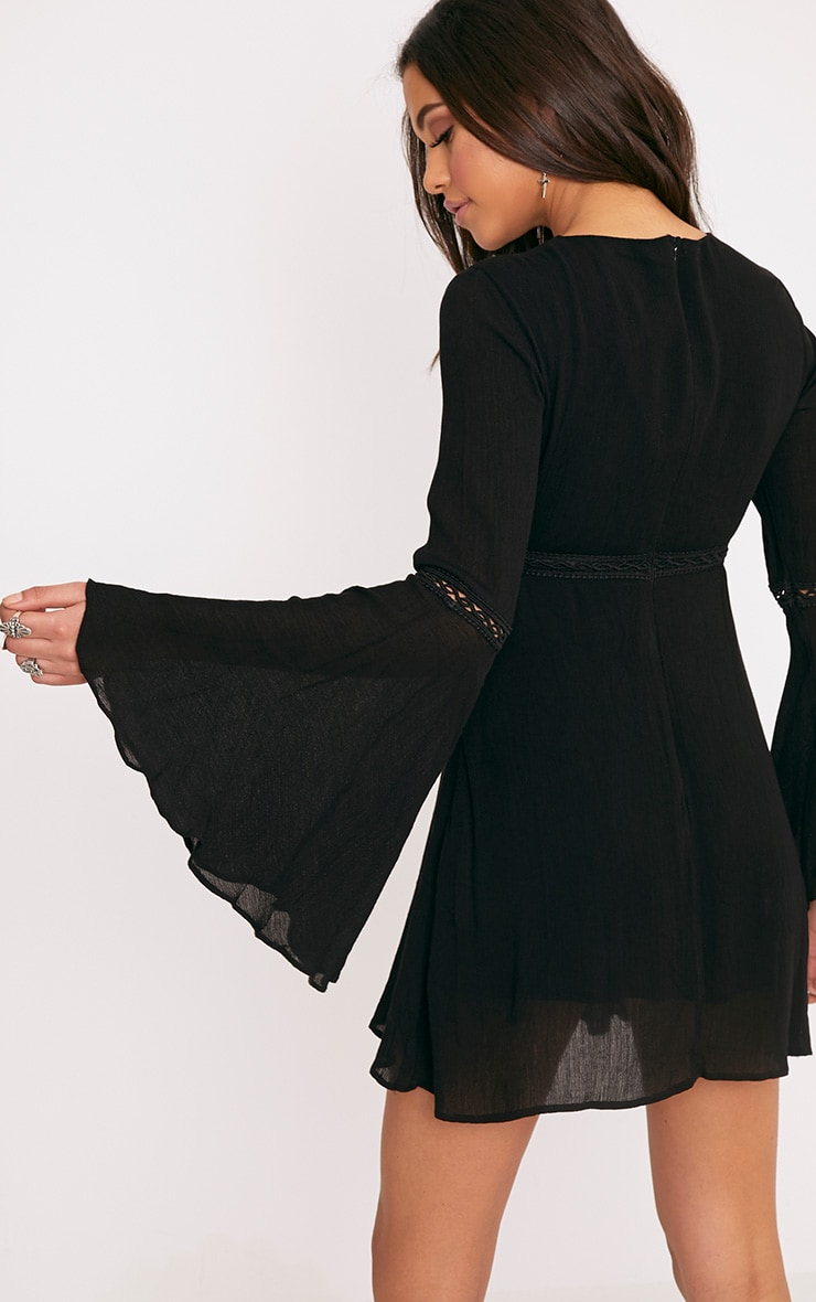 Karmen Black Crochet Lace Insert Swing Dress 2