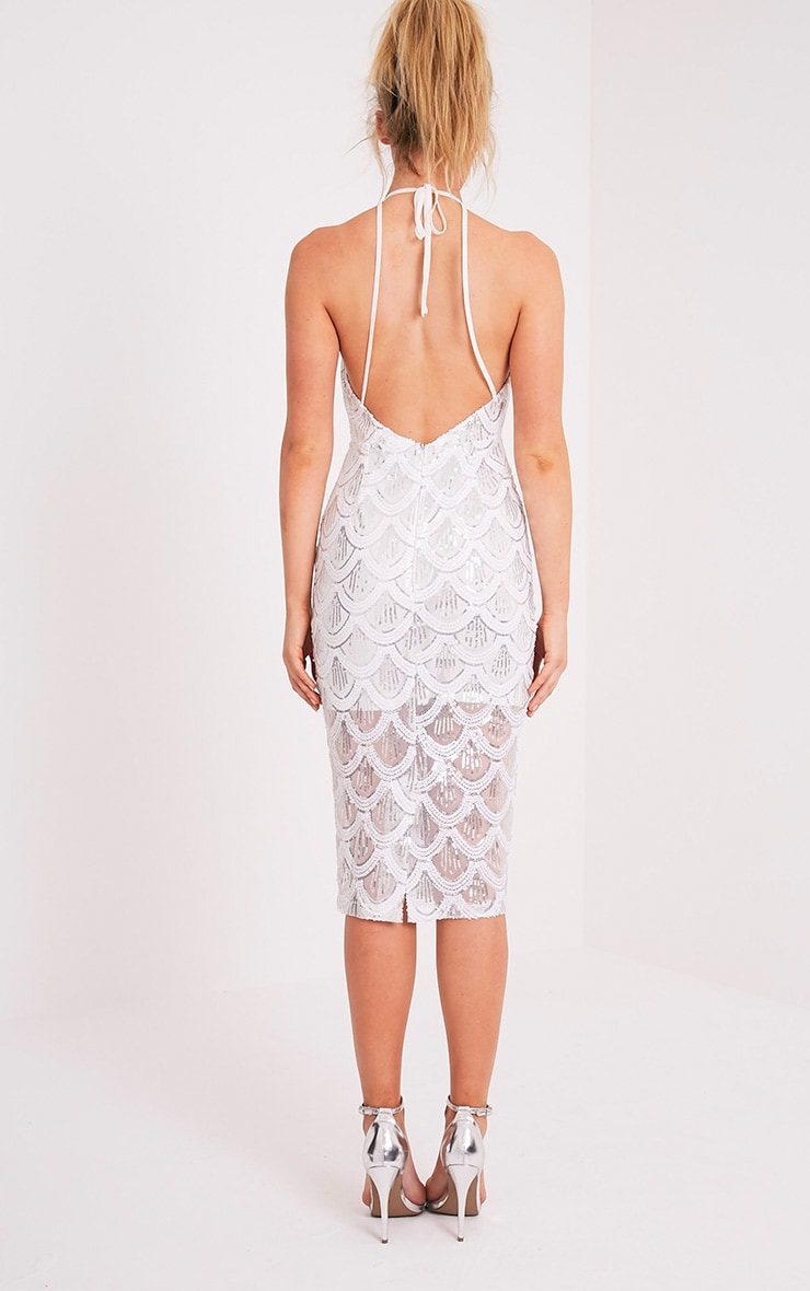 Amarie White High Neck Keyhole Sequin Midi Dress 2