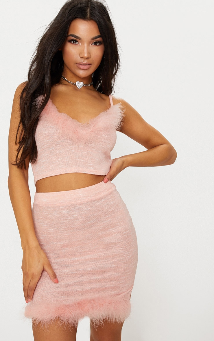 Pink Feather Trim Knit Cami Top 4