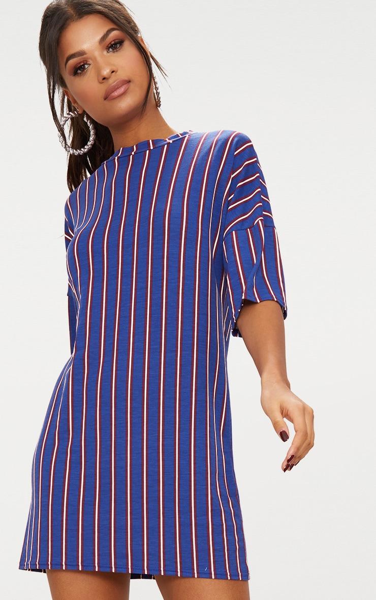 Blue Striped Oversized T Shirt Dress 4