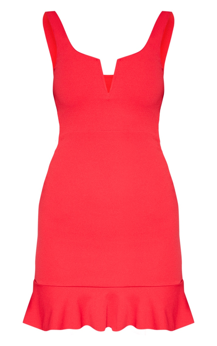 Red V Bar Frill Hem Bodycon Dress 4