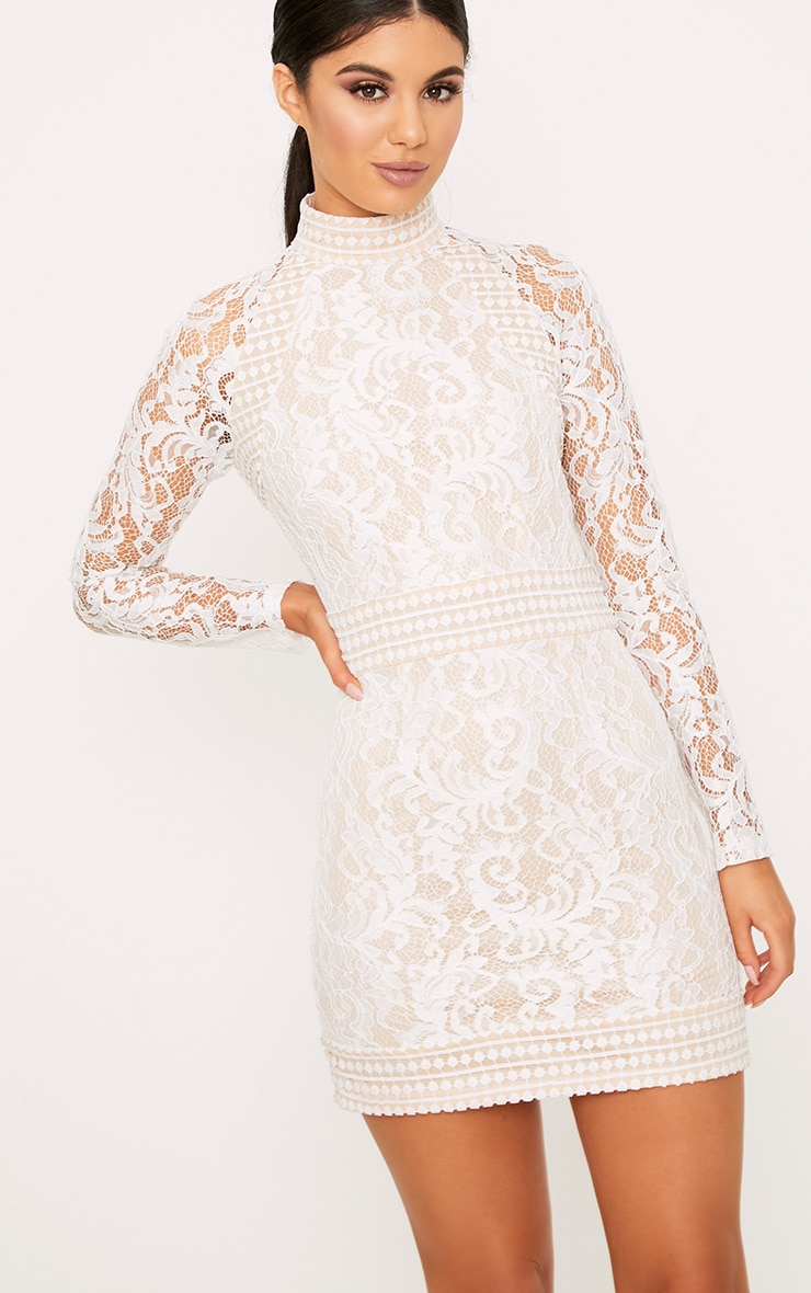 Isobel White Lace High Neck Bodycon Dress 1