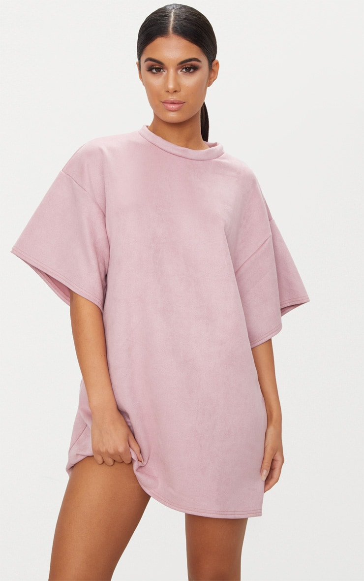 fb5241b6f728 Pink Faux Suede Oversized T Shirt Dress image 1