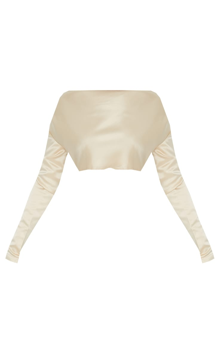 Champagne Satin Cowl Neck Shoulder Pad Long Sleeve Crop Top 5