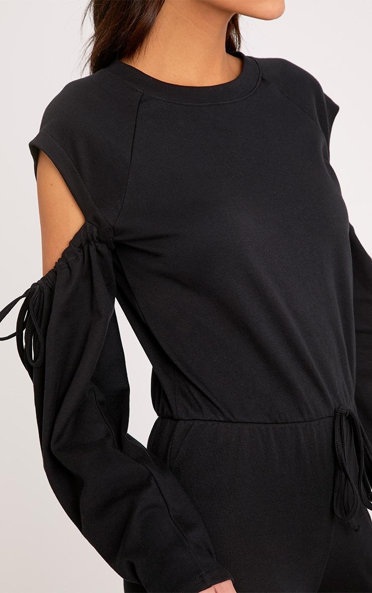 Lindsey Black Sweater Cold Shoulder Ripped Knee Jumpsuit 5