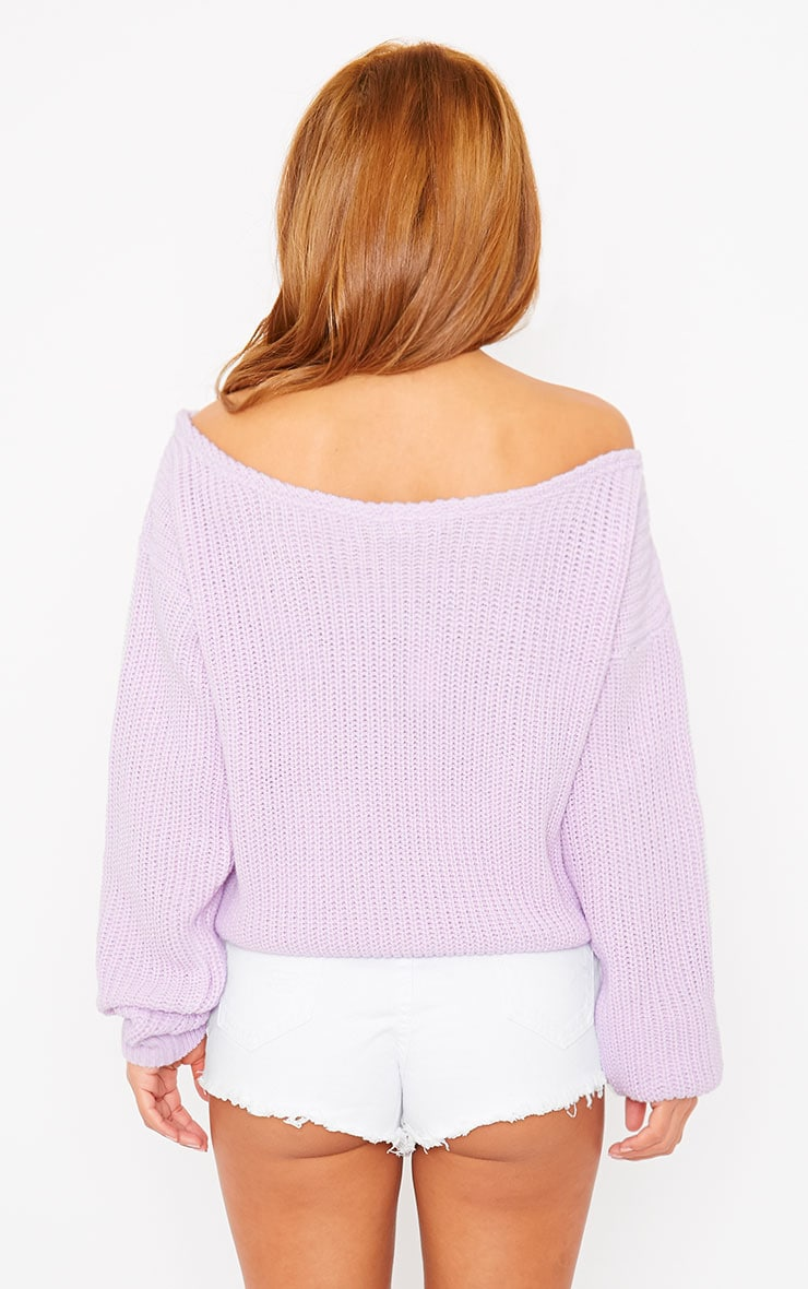 Rosalina Lilac Off The Shoulder Crop Jumper 2