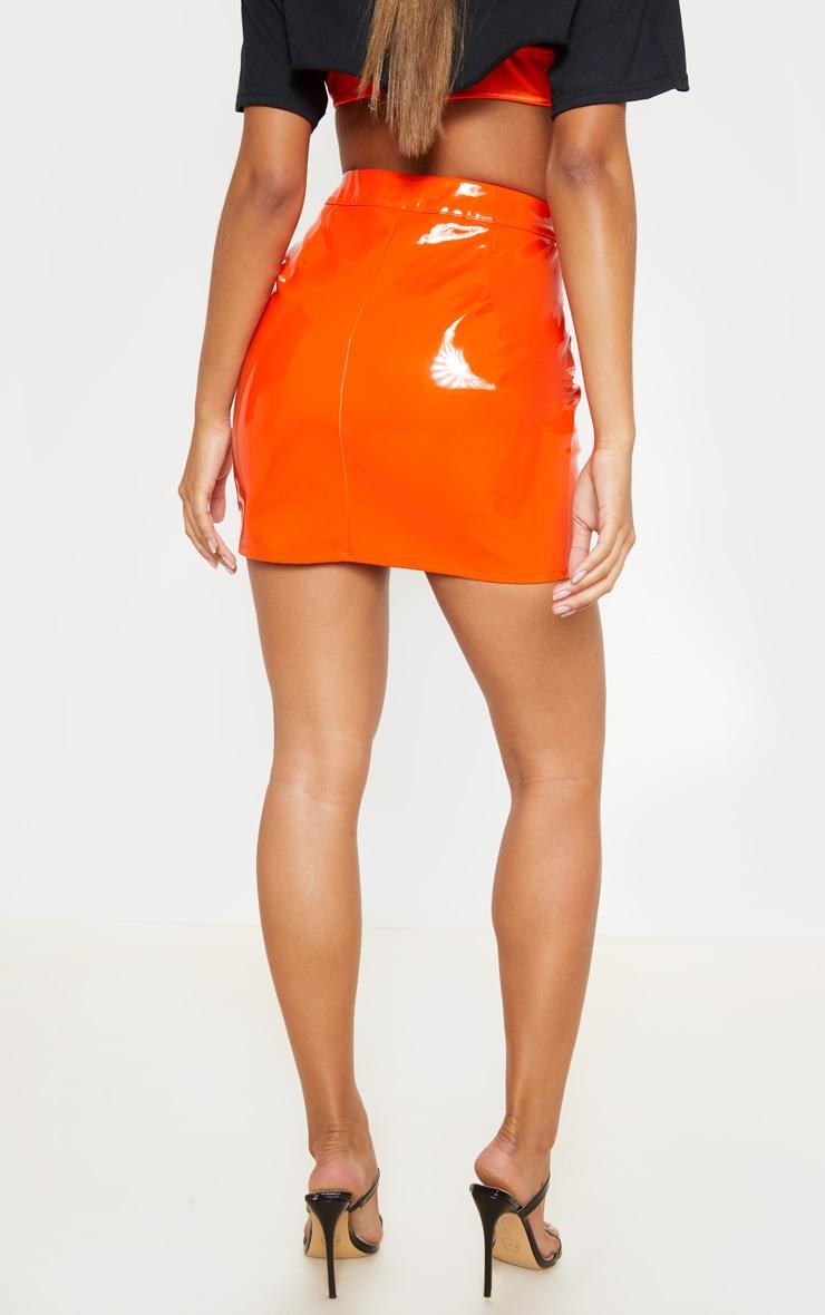 Neon Orange Vinyl Zip Detail Mini Skirt  4